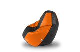 DOLPHIN M Regular BEAN BAG-Black/Orange-COVER (Without Beans)