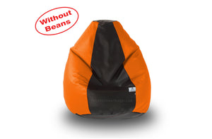 DOLPHIN S Regular BEAN BAG-Black/Orange-COVER (Without Beans)