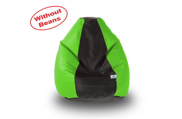 DOLPHIN S Regular BEAN BAG-Black/F.Green-COVER (Without Beans)