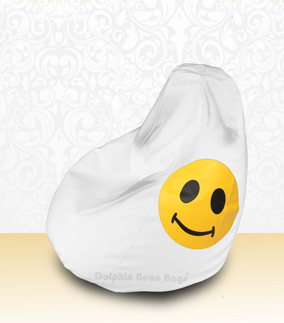 DOLPHIN XL Bean Bag White-Smiley-FILLED(with Beans)