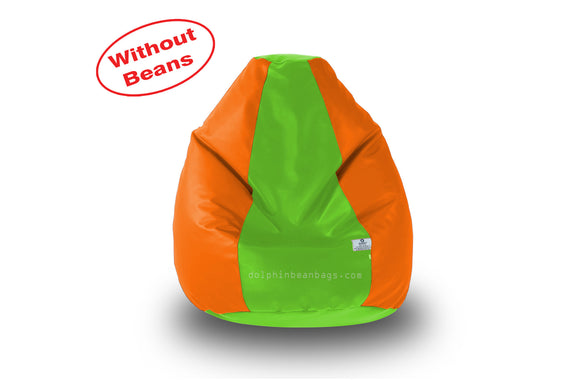 DOLPHIN M Regular BEAN BAG-F.Green/Orange-COVER (Without Beans)