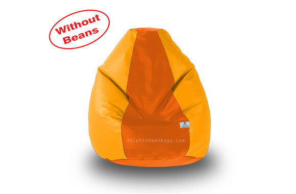 DOLPHIN M Regular BEAN BAG-Orange/Yellow-COVER (Without Beans)