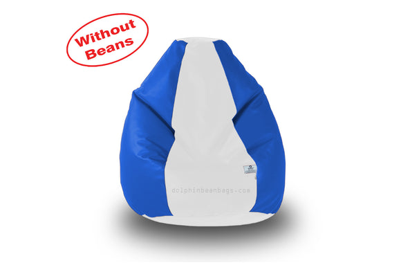 DOLPHIN M Regular BEAN BAG-White/R.Blue-COVER (Without Beans)