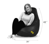 DOLPHIN XXL BEAN BAG-BLACK (With Beans)
