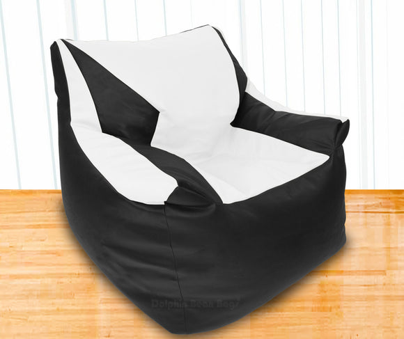 DOLPHIN XXL Beany Chair Black/White-Filled (With Beans)