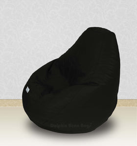 Dolphin-XXL-Genuine Leather Bean Bag BLACK-Filled (With Beans)