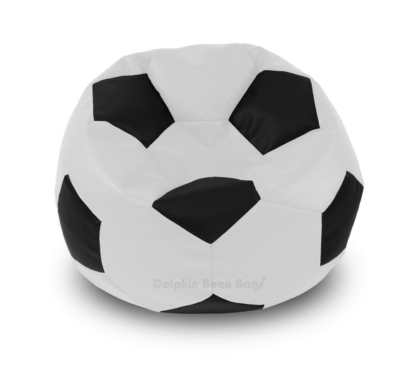 DOLPHIN XXL FOOTBALL BEAN BAG-BLACK/WHITE-Filled (With Beans)