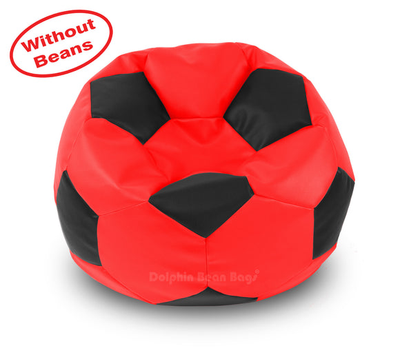 DOLPHIN XXL FOOTBALL BEAN BAG-BLACK/RED-COVER (Without Beans)