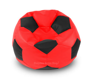 DOLPHIN XXL FOOTBALL BEAN BAG-BLACK/RED-Filled (With Beans)