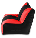 DOLPHIN XXL RECLINER BEAN BAG-BLACK/RED-FILLED (With Beans)