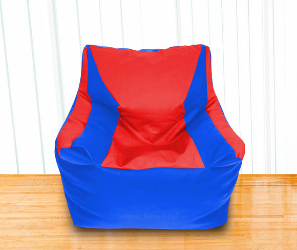 DOLPHIN XXL Beany Chair R.Blue/Red-Filled (With Beans)