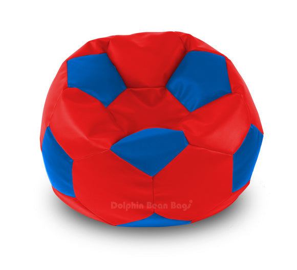 DOLPHIN XXL FOOTBALL BEAN BAG-BLUE/RED-Filled (With Beans)