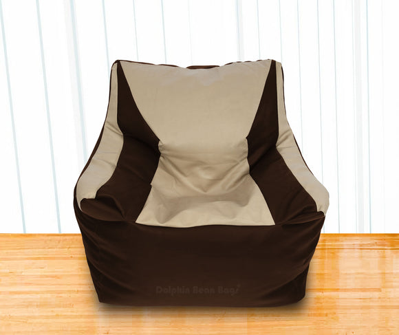 DOLPHIN XXL Beany Chair Brown/Beige-Filled (With Beans)