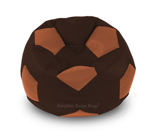 DOLPHIN XXL FOOTBALL BEAN BAG-BROWN/TAN-Filled (With Beans)