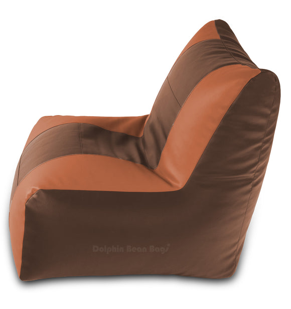 DOLPHIN XXL RECLINER BEAN BAG-BROWN/TAN-FILLED (With Beans)