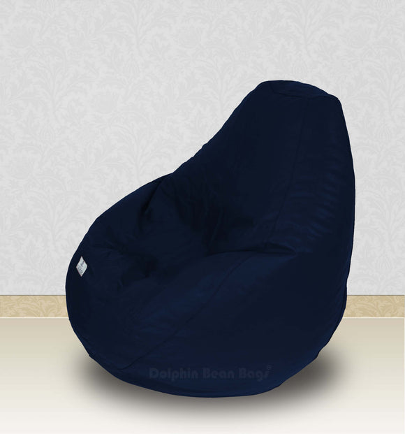 Dolphin-XXL-Genuine Leather Bean Bag N.BLUE-Filled (With Beans)