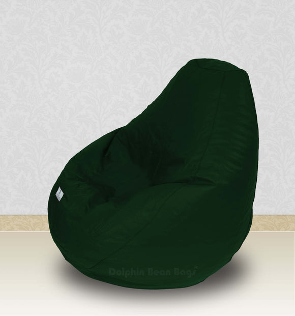 Dolphin-XXL-Genuine Leather Bean Bag BOTTLE GREEN-Filled (With Beans)