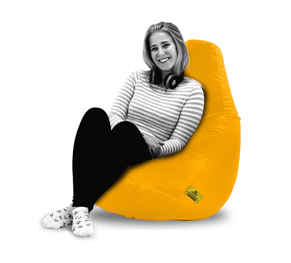 DOLPHIN XXL BEAN BAG-Yellow - Filled (With Beans)
