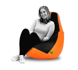 DOLPHIN XXL BLACK & ORANGE BEAN BAG-FILLED (With Beans)