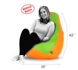 DOLPHIN XXL F.GREEN&ORANGE BEAN BAG-COVERS(Without Beans)