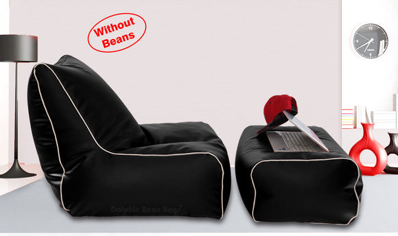 Dolphin Gamer Bean Bag with Footrest Black-Covers (Without Beans)