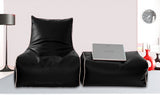 Dolphin Gamer Bean Bag with Footrest Black-Filled (With Beans)