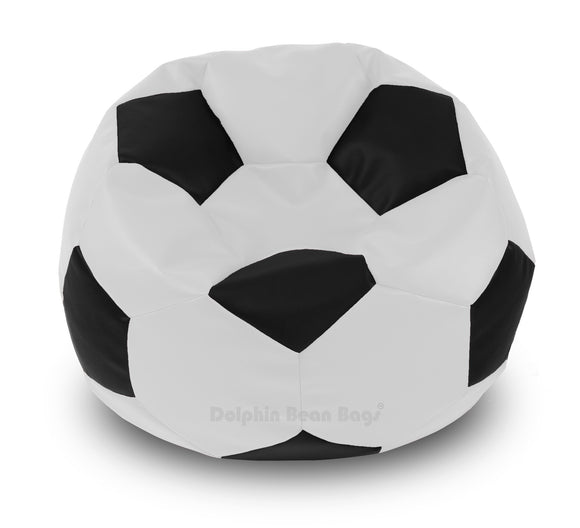 DOLPHIN XXXL FOOTBALL BEAN BAG-BLACK/WHITE-Filled (With Beans)