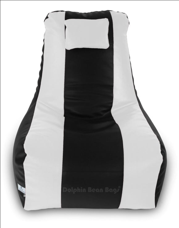 DOLPHIN XXXL RECLINER BEAN BAG-BLACK/WHITE-FILLED (With Beans)
