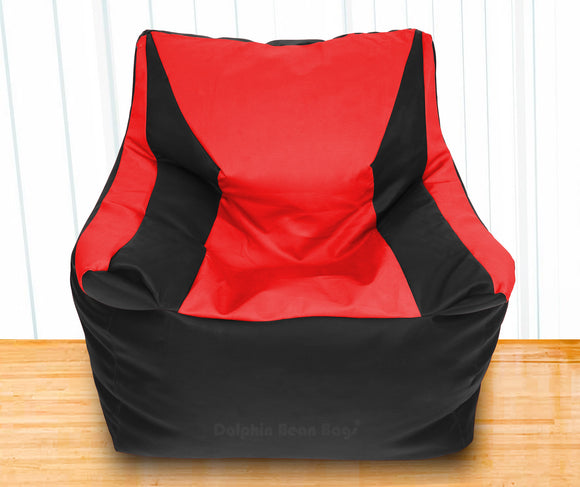 DOLPHIN XXXL Beany Chair Black/Red-Filled (With Beans)