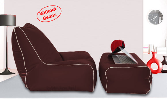 Dolphin Gamer Bean Bag with Footrest Brown-Covers (Without Beans)