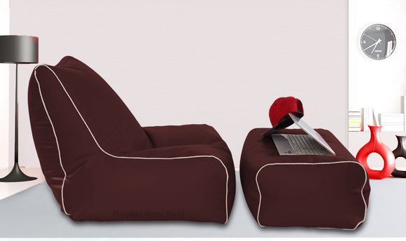 Dolphin Gamer Bean Bag with Footrest Brown-Filled (With Beans)