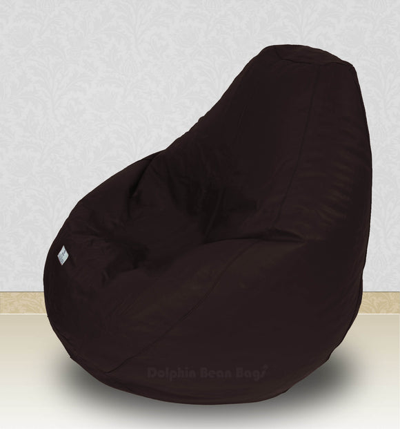 Dolphin-XXXL-Genuine Leather Bean Bag BROWN-Filled (With Beans)