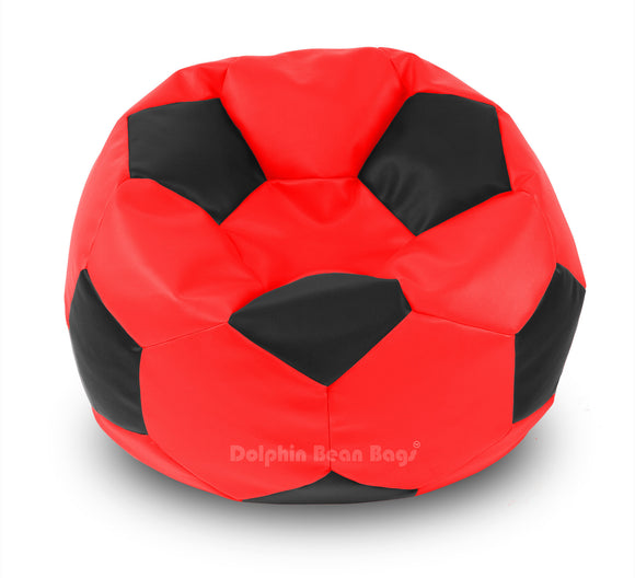 DOLPHIN XXXL FOOTBALL BEAN BAG-BLACK/RED-Filled (With Beans)