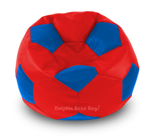 DOLPHIN XXXL FOOTBALL BEAN BAG-BLUE/RED-Filled (With Beans)