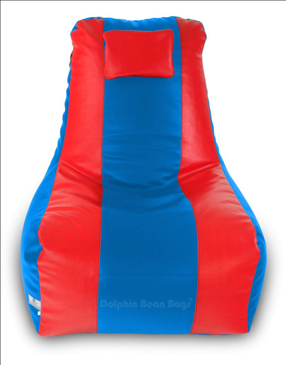 DOLPHIN XXXL RECLINER BEAN BAG-BLUE/RED-FILLED (With Beans)