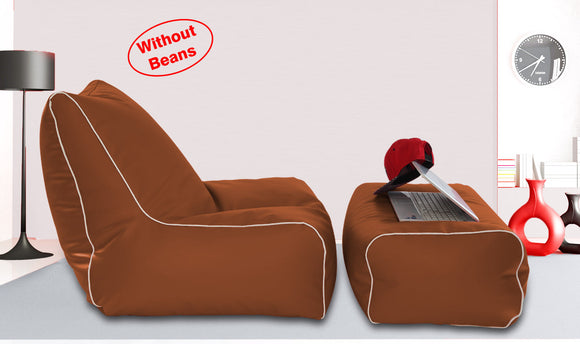 Dolphin Gamer Bean Bag with Footrest Tan-Covers (Without Beans)