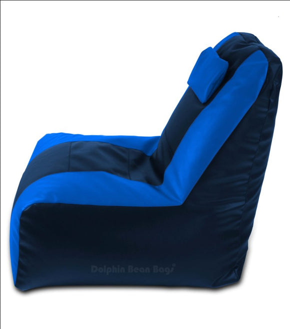 DOLPHIN XXXL RECLINER BEAN BAG-N.BLUE/BLUE-FILLED (With Beans)