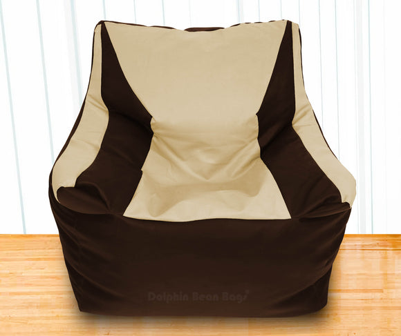 DOLPHIN XXXL Beany Chair Brown/Beige-Filled (With Beans)