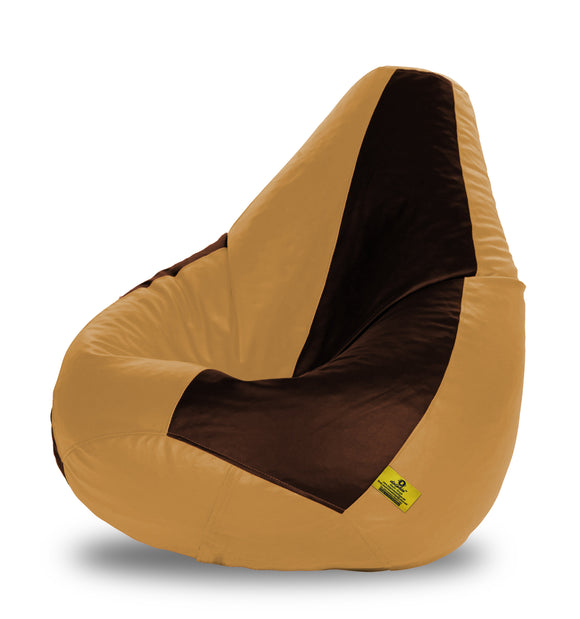 DOLPHIN XXXL BROWN & BEIGE BEAN BAG-FILLED(With Beans)