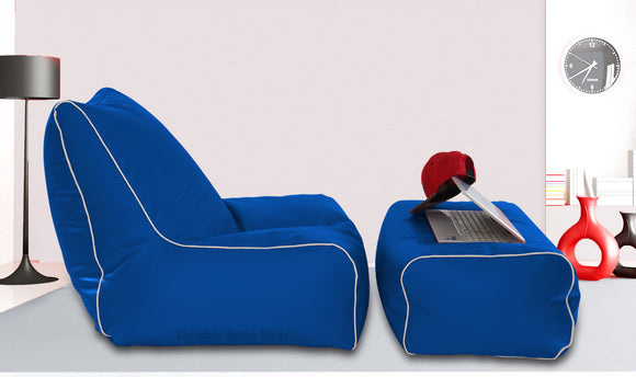 Dolphin Gamer Bean Bag with Footrest R.Blue-Filled (With Beans)