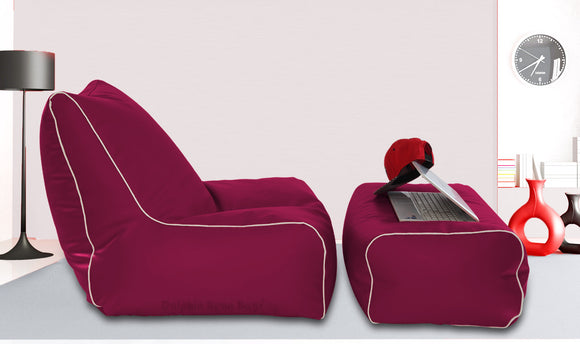 Dolphin Gamer Bean Bag with Footrest Maroon-Filled (With Beans)