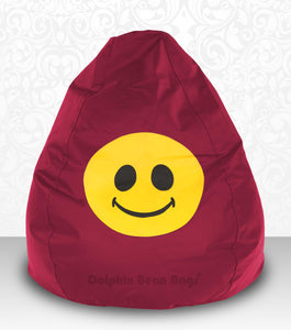 DOLPHIN XXXL Bean Bag Maroon-Smiley-FILLED (with Beans)