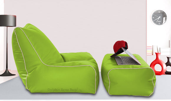 Dolphin Gamer Bean Bag with Footrest F.Green-Filled (With Beans)