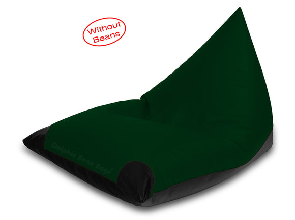 Dolphin Jumbo Pyramid Bean Bags-Black/B.Green-Cover (without Beans)