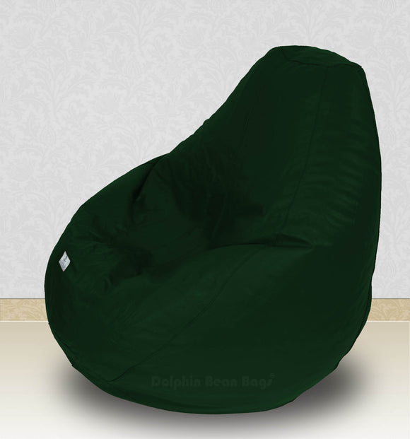 Dolphin-XXXL-Genuine Leather Bean Bag BOTTLE GREEN-Filled (With Beans)