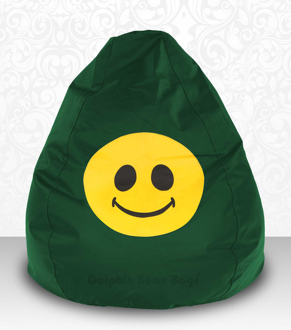DOLPHIN XXXL Bean Bag B.Green-Smiley-FILLED(with Beans)