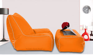 Dolphin Gamer Bean Bag with Footrest Orange-Filled (With Beans)