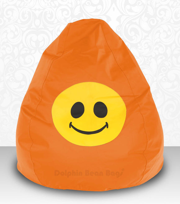 DOLPHIN XXXL Bean Bag Orange-Smiley-FILLED(with Beans)