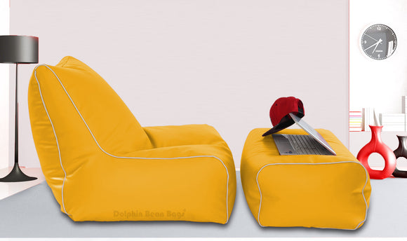 Dolphin Gamer Bean Bag with Footrest Yellow-Filled (With Beans)