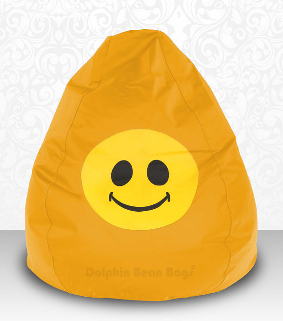 DOLPHIN XXXL Bean Bag Yellow-Smiley-FILLED(with Beans)